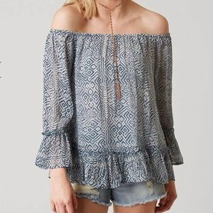 Lucky Brand Blue Maze Printed Top Off Shoulder M